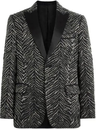 Zebra Chevron On Prince Of Wales Jacket-Roberto Cavalli