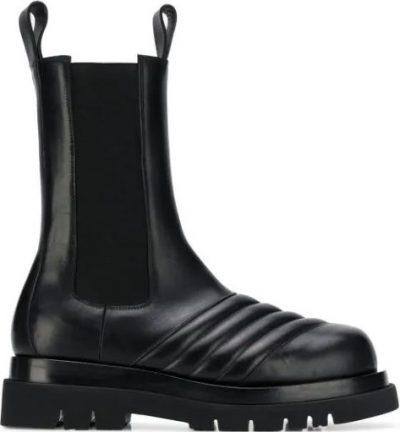 Black Quilted Mid-Calf Boots-Bottega Veneta