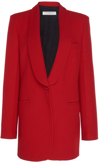 Red Oversized Collar-Detailed Twill Blazer