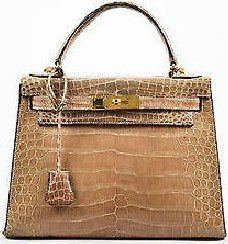 Taupe Crocodile Leather Kelly 28 Handbag-Hermes