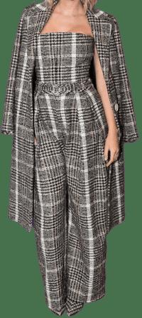 Black And Camel Plaid Coat-Carmen March