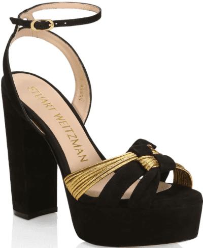 Black Kayley Suede Platform Sandals