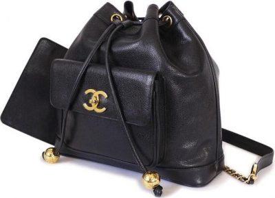 Black Vintage Drawstring Backpack-Chanel