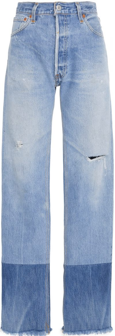 Blue High-Rise Two-Tone Jeans