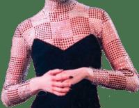 Silver Crystal Net Long Sleeve Bodysuit