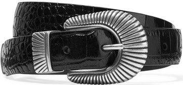 Black Croc-Effect Leather Belt-Anderson's