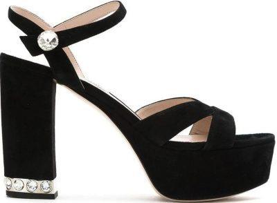 Suede Platform Sandals-Miu Miu