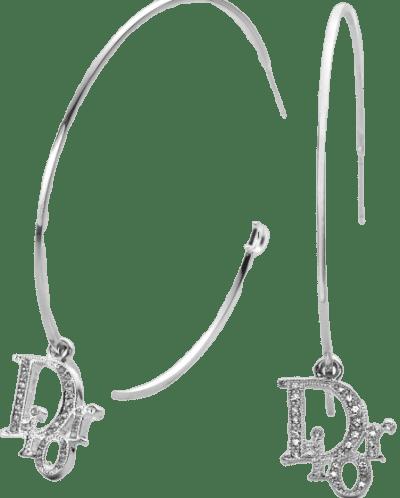 Silver Charm Logo Hoop Earrings-Dior