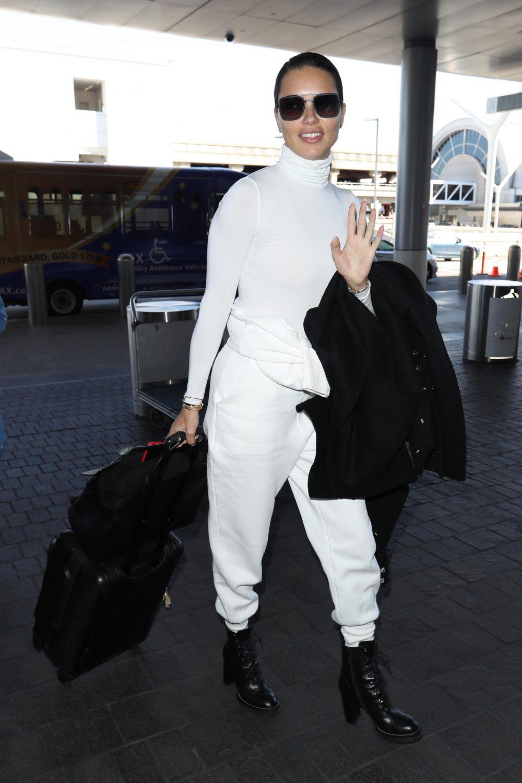 Brazilian Model Adriana Lima seen at Los Angeles airport