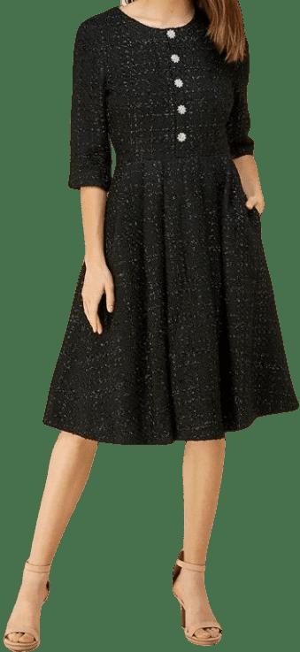 Black Jewel Tweed Midi Dress-Just Me