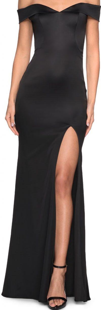 Black Off-The-Shoulder Stretch Thigh-Slit Satin Gown