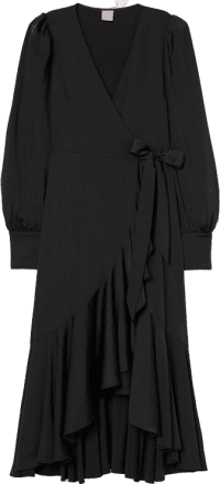 Black Satin Wrap-Front Dress