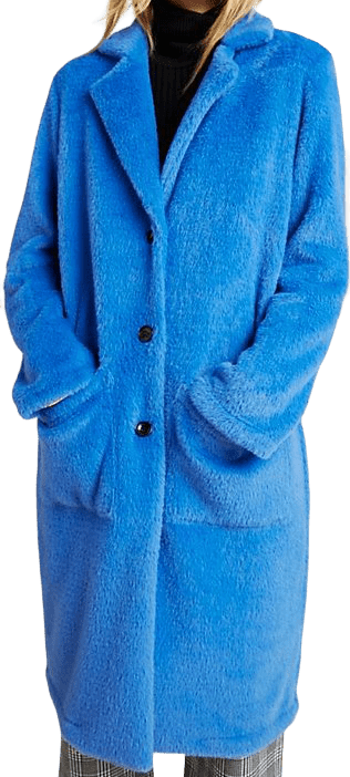 Blue Colleen Faux Fur Coat-Sanctuary