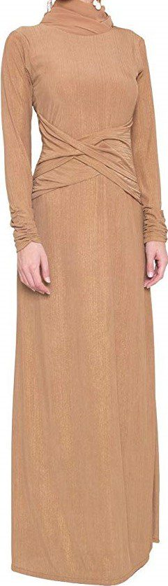 Bronze Gold Long-Sleeve Formal Maxi Dress