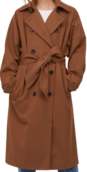 Brown Double-Breasted Woven Trenchcoat