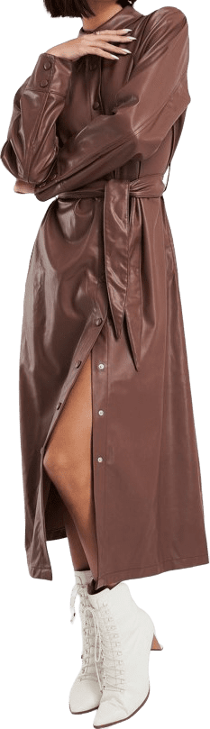 Brown Faux Leather Belted Shirt Midi Dress-NA-KD