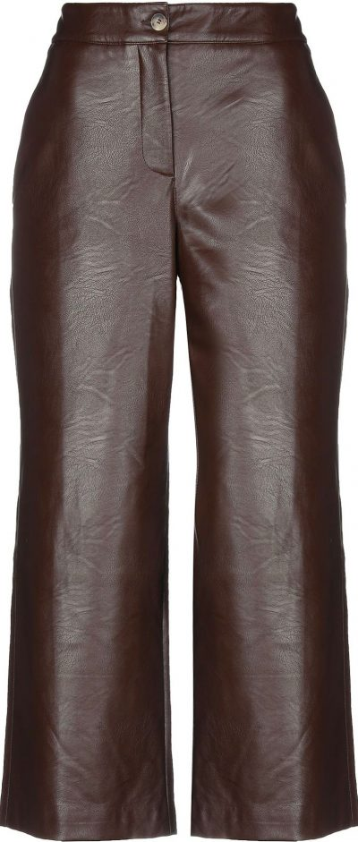 Brown Wide-Leg Casual Pants