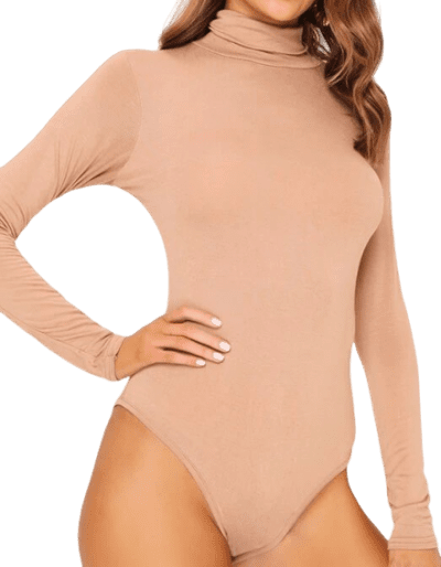 Camel Basic Turtleneck Long Sleeve Bodysuit-I Saw It First