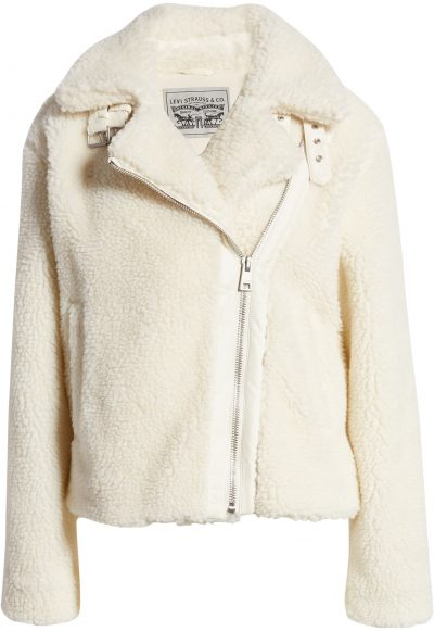 Cream Faux Shearling Moto Jacket