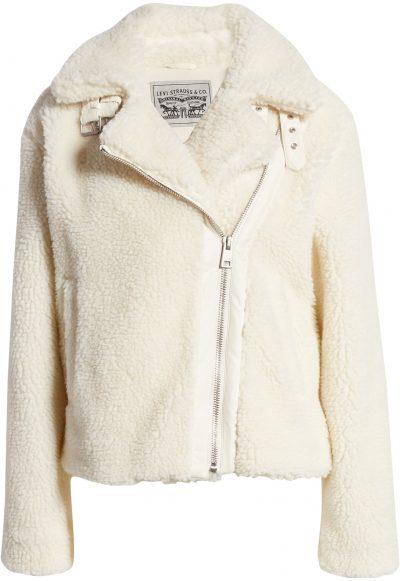 Cream Faux Shearling Moto Jacket