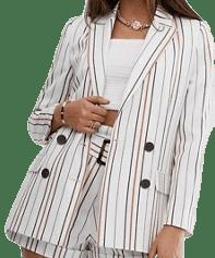 Cream Stripe Suit Blazer