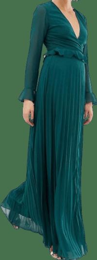 Forest Green Wrap Maxi Ruffle Dress