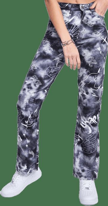 Gothic Print Boyfriend Fit Jeans-Jaded London