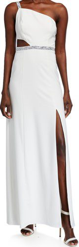 Ivory Beaded-Trim One-Shoulder Crepe Gown-Aidan Mattox