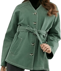Khaki Collarless Contrast Stitching Jacket