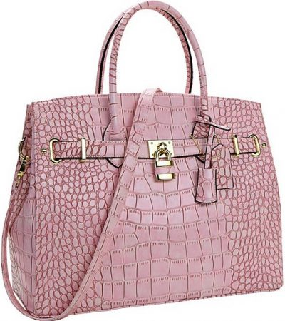 Pink Faux Leather Padlock Satchel-Dasein