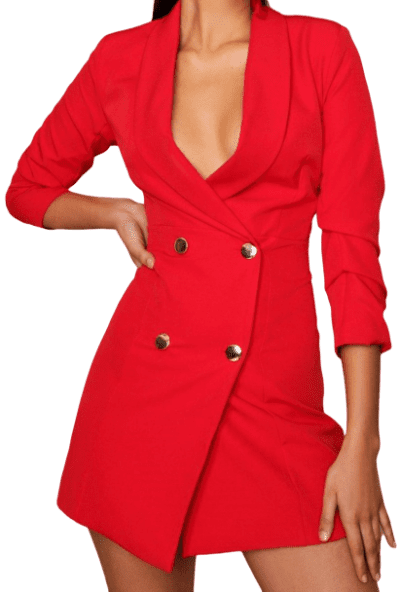 Red Gold Button Double Breasted Blazer Dress