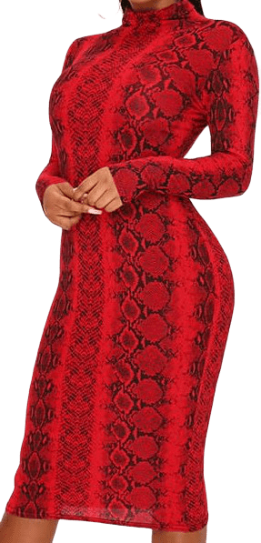 Red Snake Print Roll-Neck Midaxi Dress