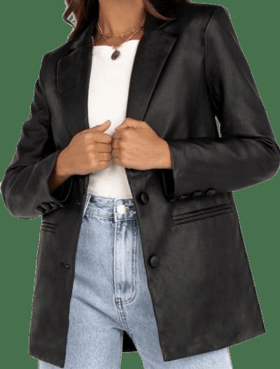 Sandy Black Faux Leather Blazer-Dissh