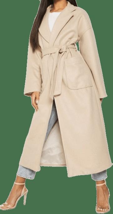 Stone Oversized Pocket Belted Wool Coat-Boohoo