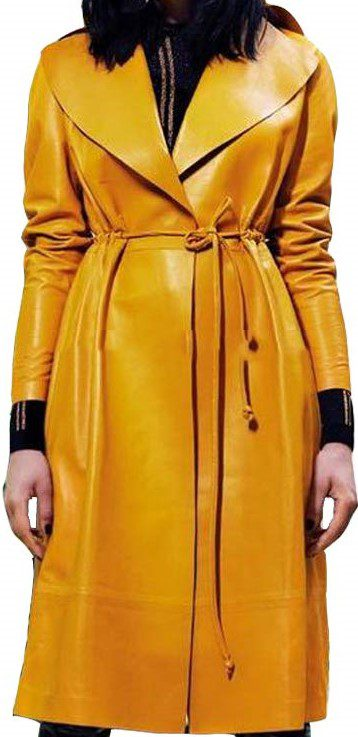 Yellow Lambskin Leather Trench Coat-Koza Leathers