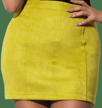 Yellow She's A Flirt Faux Suede Mini Skirt