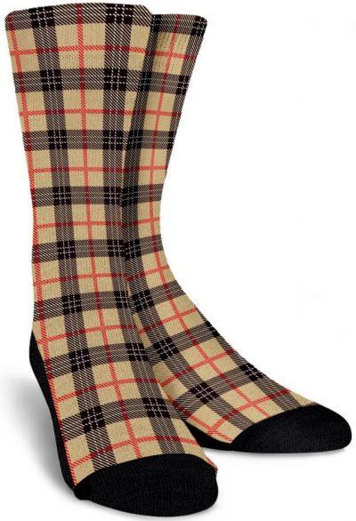 Beige Tartan Scottish Plad Socks