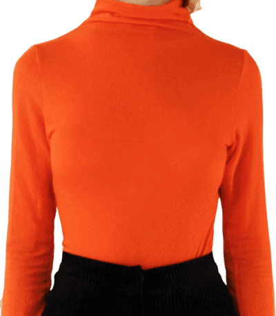 Beight Orange Long-Sleeve Turtleneck Top