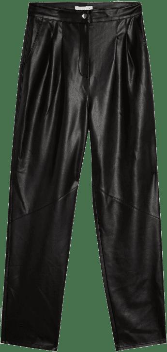 Black Faux Leather Peg Pants