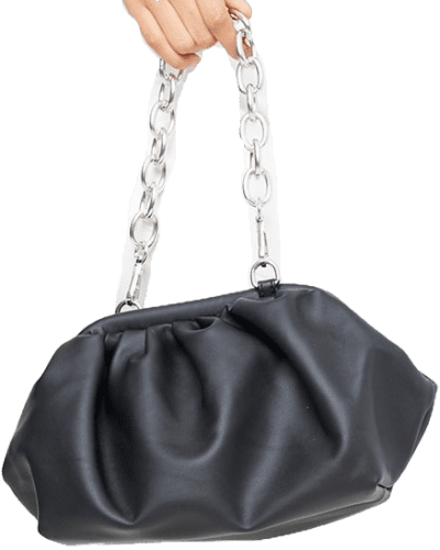 Black Gathered Pu Bag With Chunky Chain-In The Style