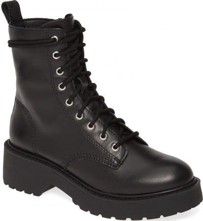 Black Leather Tornado Combat Boot