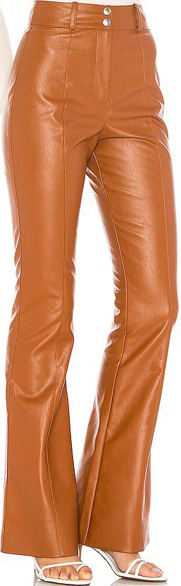 Brown Spice Blake Faux Leather Pant-Majorelle