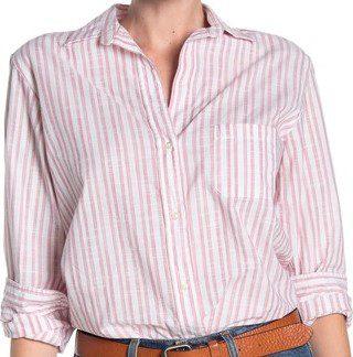 Clara Red Stripe Print Cotton Shirt-Grayson