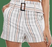 Cream Strip Suit High-Waist Shorts