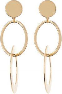 Gold Double Hoop Layered Drop Earrings-J. Crew