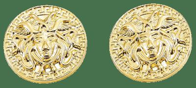 Gold Medusa Large Pendant Earrings