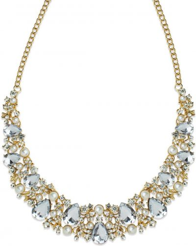 Gold Stone and Imitation Pearl Statement Necklace