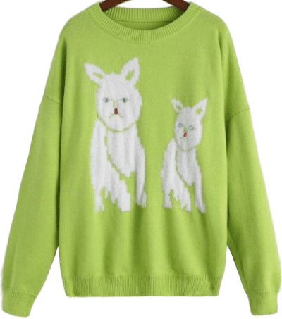 Green Dog Graphic Oversized Sweater-Zaful