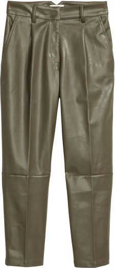 Khaki Green Faux Leather Pants-H&M