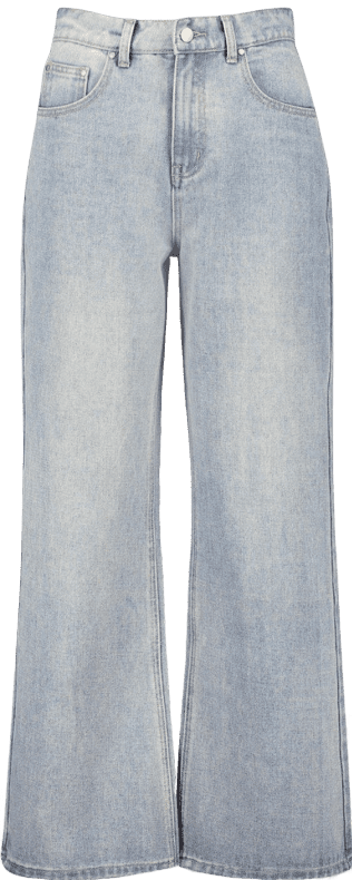 Light Blue High-Rise Rigid Wide-Leg Jeans